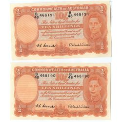 Australia 10 Shillings George V1 Pair