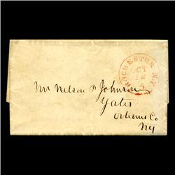 1849 Rochester NY Stampless Cover SCARCE (STM-2004)