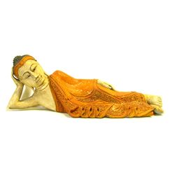 Reclining Buddha Hand Carved of Monkey Pod (CLB-993)