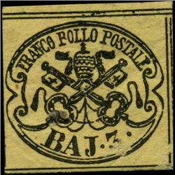 1852 Papal States 3b Stamp MINT Hinged (STM-1006)