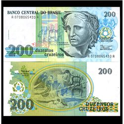 1989 Brazil 200 Cruzados Crisp Uncirculated Note (CUR-05922)