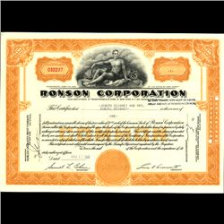 1960s Ronson Stock Certificate Scarce Orange (COI-3354)