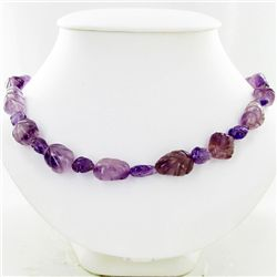 350ct Handcarved African Amethyst Beads  (JEW-3795)