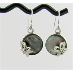 Sterling Mother of Pearl Butterfly Earrings (JEW-1404)
