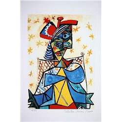 Picasso Limited Edition - Seated Woman With A Red And Blue Hat - from Collection Domaine Picasso