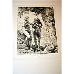 Rembrandt Etching - Adam and Eve