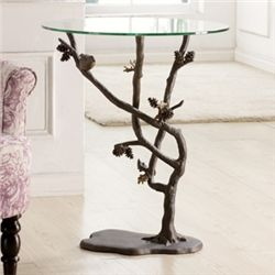Bird & Pinecone Side Table