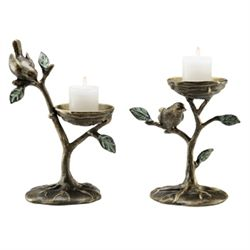 Bird & Branch Pillar Candle Holders
