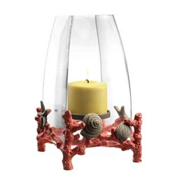 Coral & Shell Hurricane Candle Holder
