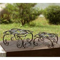Fleur De Lis Square Planter Set Of 2