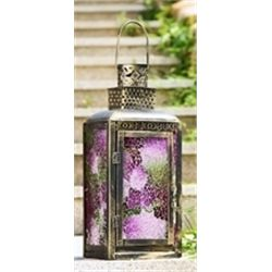 Pink Glass Lantern Candle Holder