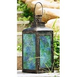 Blue Glass Lantern Candle Holder