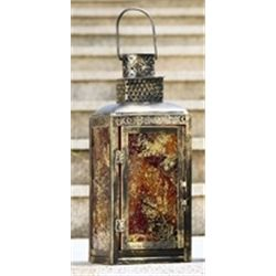 Amber Glass Lantern Candle Holder