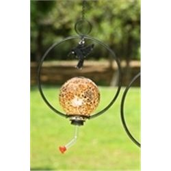 Amber Glass Hummingbird Feeder
