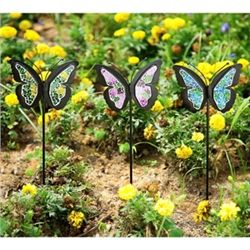 3 Mosaic Glass Butterfly Stakes