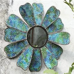 Blue Mosaic Glass Flower Mirror
