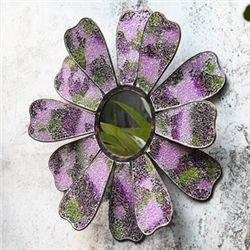 Pink Mosaic Glass Flower Mirror