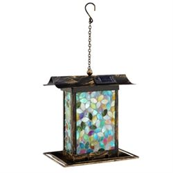 Blue Mosaic Glass Birdfeeder