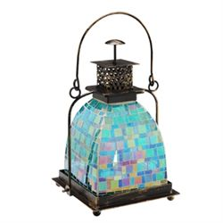 Blue Mosaic Glass Lantern / Candle Holder