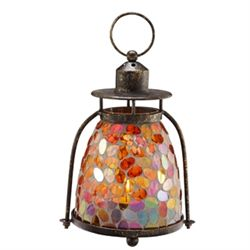Pink & Amber Mosaic Glass Lantern / Candle Holder