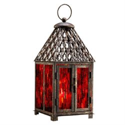 Red Mosaic Glass Lantern / Candle Holder