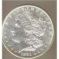 "1881-S  "" DEEP MIRROR PROOF LIKE ""  CHOICE / BRIGHT UNCIRCULATED HIGH GRADE  MORGAN SILVER DOLLAR WI"