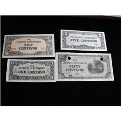 JAPAN EMERGENCY WW2 CURRENCY, 1,5,10 & 50 CENTAVOS