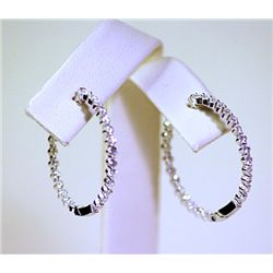 Lady's Fancy Sterling Silver Diamond Hoop Earrings