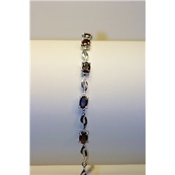 Lady's Fancy Silver Rose Garnet Bracelet