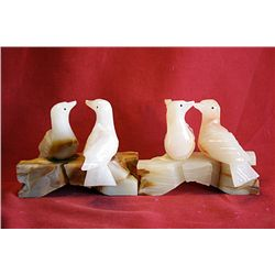 Original Hand Carved Marble  Small Doves  by G. Huerta