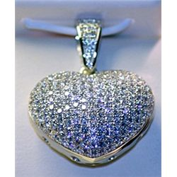 Lady's Stylish Sterling Silver  Heart  Diamond Pendant