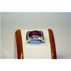 Men's 14 kt White Gold Pigeon Blood Ruby/Diamond Ring
