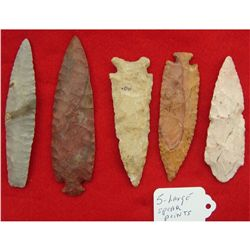 5 Large Stone Spear Points