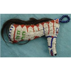 Early Plains Horsehead beaded fetish