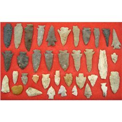 Display of 37 Indian Arrowheads