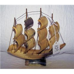 Hand carved sailing ship by Inuit