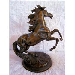 Metal Horse statue no signed 16 1 1/2""