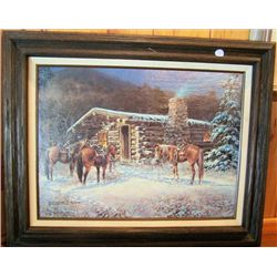 Framed Picture Winter Cabin w/horses