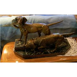Bronze 2 tier solid marble base with hunting dogs