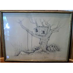 "Framed picture Tree house, A Ginn ""76"""