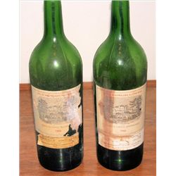 2 Empty wine bottles Chateau LaFite Rothschild