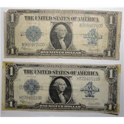 2  1923 silver certificates one heavy circ