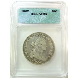 1802 BUST HALF DOLLAR ICG VF-35