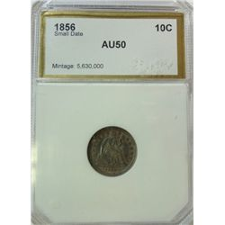 1856 SMALL DATE SEATED DIME PCI AU-50