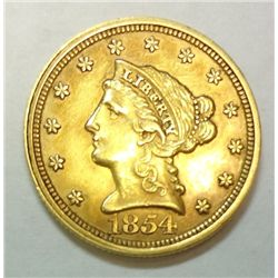 1854 $2.5 GOLD LIBERTY AU-55/58