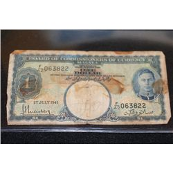 1941 Malaya $1 Foreign Bank Note