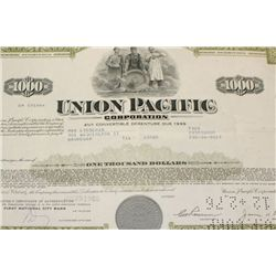 Union Pacific Corp. Stock Certificate dated 1969