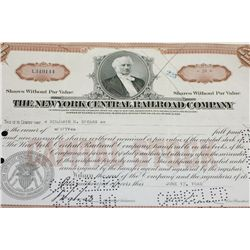The New York Central Railroad Co. Stock Certificate dated 1940