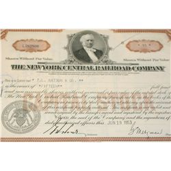 The New York Central Railroad Co. Stock Certificate dated 1953