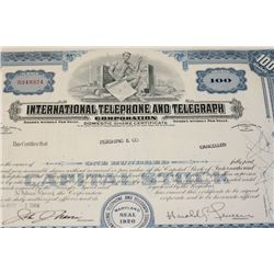 International Telephone & Telegraph Corp. Stock Certificate dated 1964